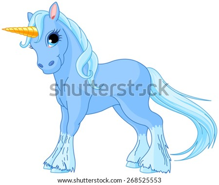Illustration of standing beautiful cute unicorn - stock vector