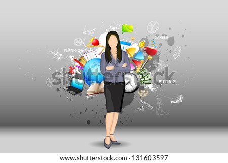 illustration of standing businesslady with object all around - stock vector