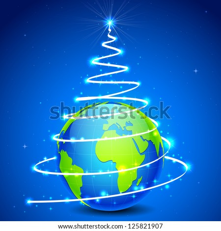 illustration of star in shape of christmas tree around globe - stock vector