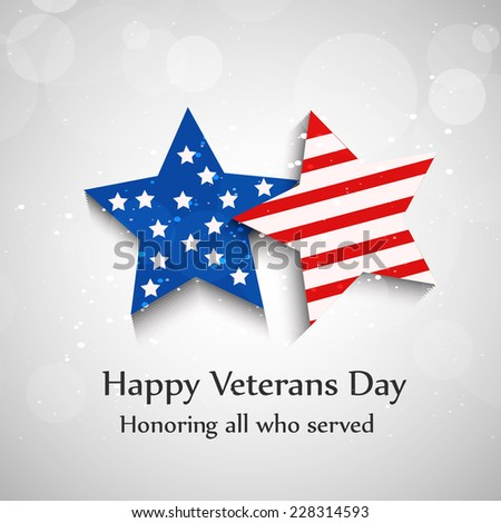 Illustration of Stars with U.S.A Flag for Veterans Day - stock vector