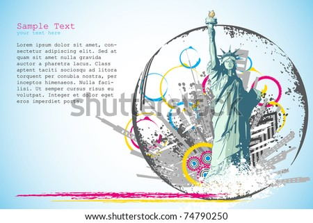 illustration of statue of liberty on abstract city scape background - stock vector