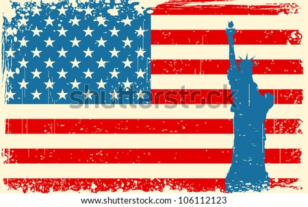illustration of Statue of Liberty on American flag background - stock vector