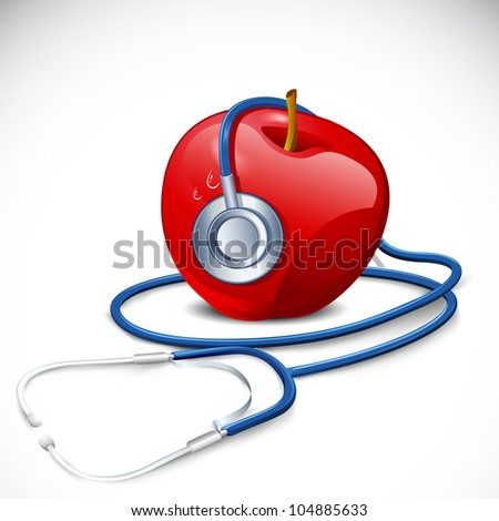 illustration of stethoscope around apple on abstract background - stock vector