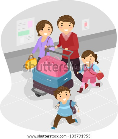 Illustration of Stickman Family at the Airport - stock vector