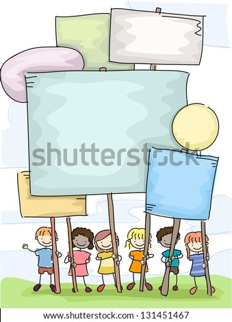 Illustration of Stickman Kids holding Plackards - stock vector