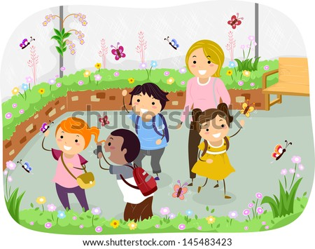 Illustration of Stickman Kids in a School Trip at Butterfly Garden - stock vector