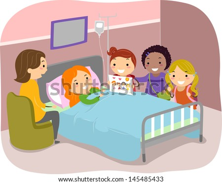 Illustration of Stickman Kids Paying a Visit to a Friend in the Hospital - stock vector