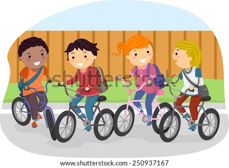 Illustration of Stickman Kids Riding on Their Bikes - stock vector