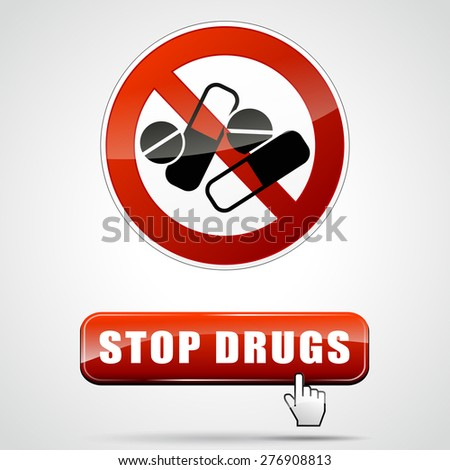 illustration of stop drugs sign with web button - stock vector
