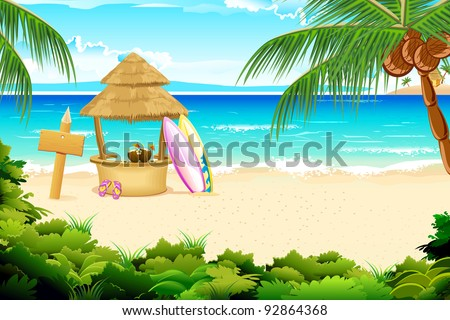 illustration of straw hut and surfing board in beach view - stock vector