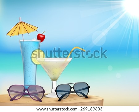 Illustration of Summer beach  with juice, glasses - stock vector