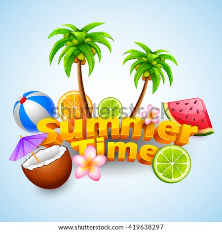 illustration of Summer Time poster design - stock vector