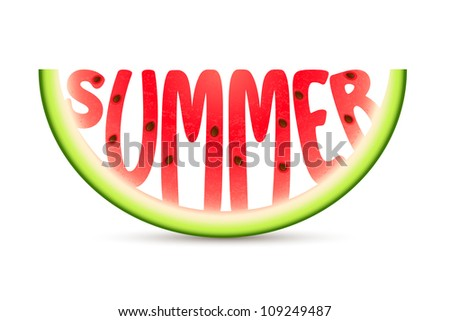 illustration of summer word carved in watermelon - stock vector