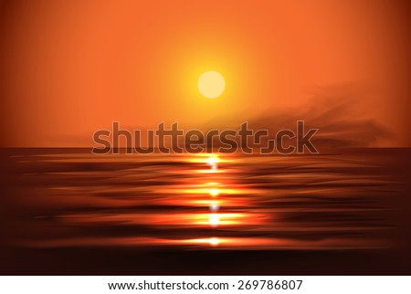 Illustration of sunset view in sea - stock vector