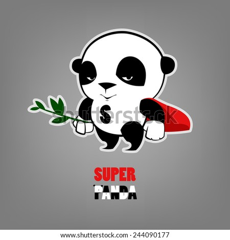 illustration of Super Hero Panda  - stock vector