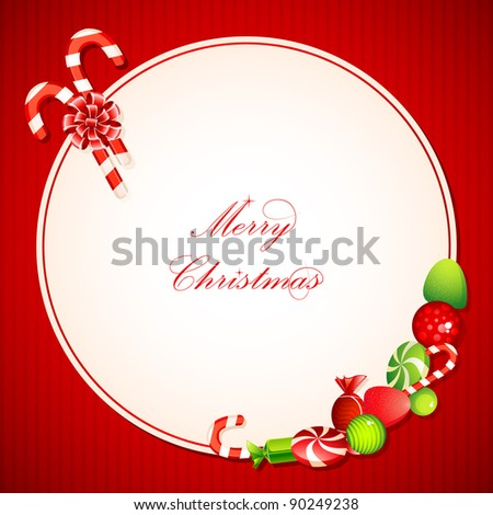 illustration of sweet candy on christmas card - stock vector
