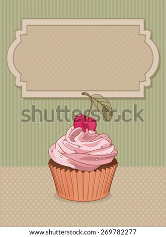 Illustration of sweet cupcake with cherry - stock vector