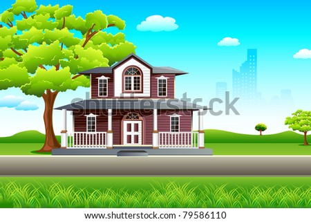 illustration of sweet home on beautiful landscape - stock vector