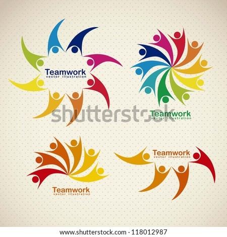 Illustration of teamwork icons, silhouettes of people in colors, vector illustration - stock vector