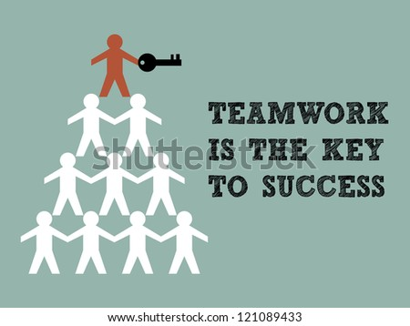 Illustration of teamwork paper man hold the key to success - stock vector