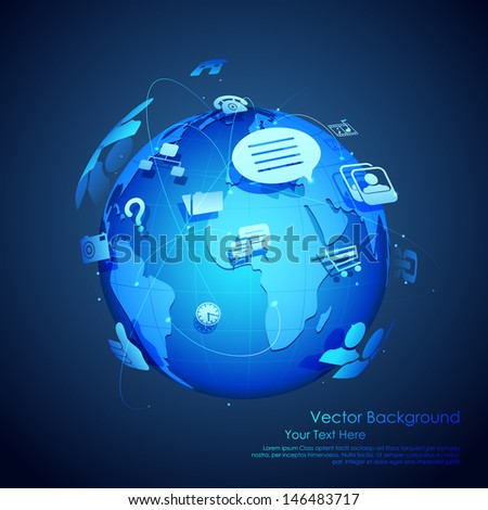illustration of technology and networking symbol around Earth - stock vector