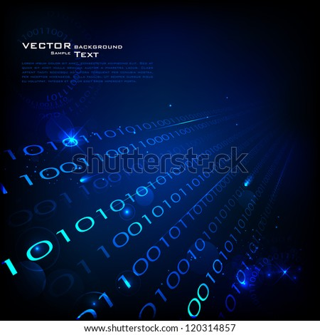 illustration of technology background with binary number - stock vector