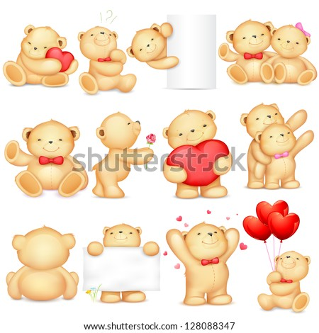 illustration of teddy bear in different pose for love background - stock vector