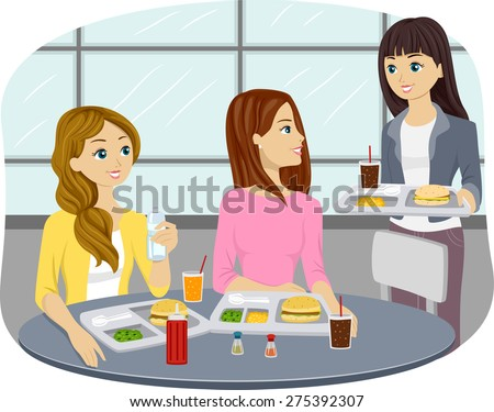 Illustration of Teenage Girls Eating at a Cafeteria - stock vector
