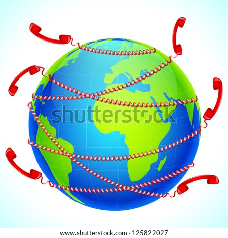 illustration of telephone receiver wrapped around globe - stock vector