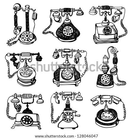 illustration of telephones - stock vector