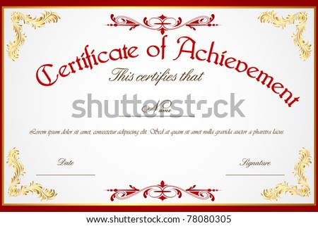 illustration of template for certificate of achievement - stock vector