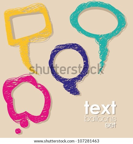 illustration of text balloons, made from scratches, vector illustration - stock vector