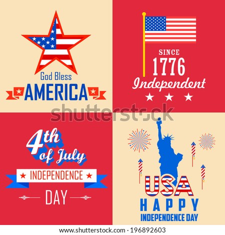 illustration of 4th of July background for American Independence - stock vector