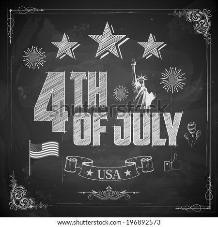 illustration of 4th of July background on chalkboard - stock vector