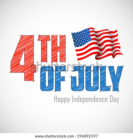 illustration of 4th of July Background with American flag - stock vector