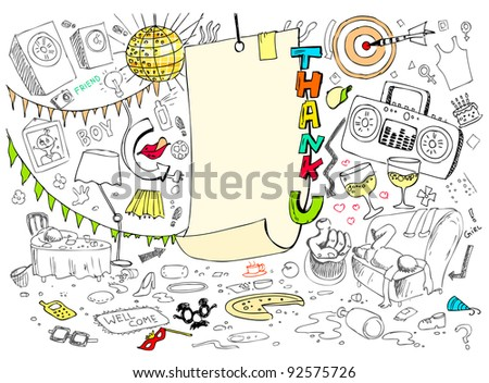 illustration of thank you card in doodle style - stock vector