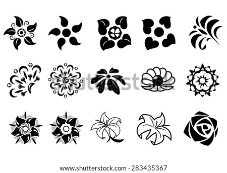 Illustration of the abstract fantasy flowers set on white background. Elements for design - stock vector