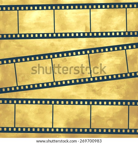 Illustration of the abstract film strips on vintage background - stock vector
