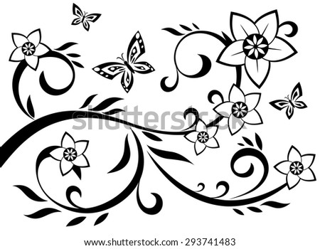 Illustration of the abstract flowers black silhouette on white background - stock vector