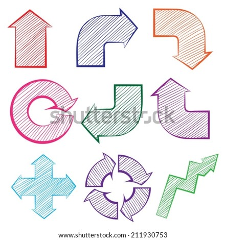 Illustration of the arrows with different directions on a white background - stock vector
