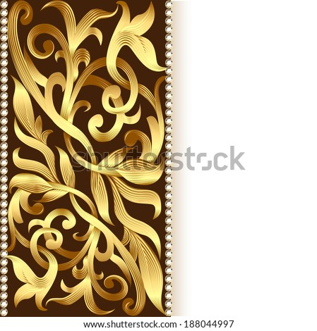 illustration of the background and ornament of gold for invitations - stock vector