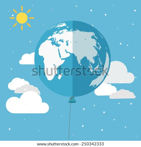 Illustration of the balloon in the sky - stock vector