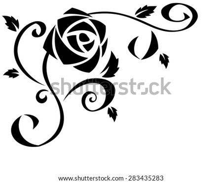 Illustration of the beautiful rose flowers black silhouette on white background - stock vector