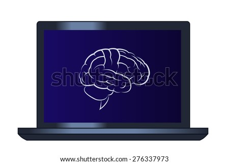 Illustration of the brain on the laptop computer - stock vector