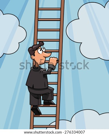 Illustration of the businessman climbing up to success by ladder - stock vector