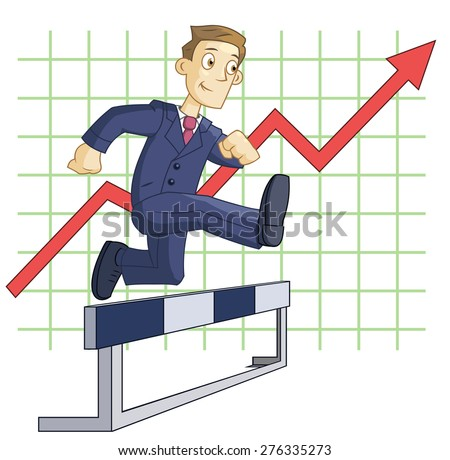 Illustration of the businessman running steeplechase on the business graph background - stock vector