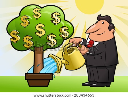 Illustration of the businessman watering the money tree to keep its growth - stock vector