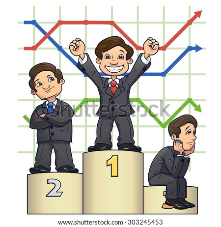 Illustration of the businessmen standing on pedestal after competition on white background - stock vector