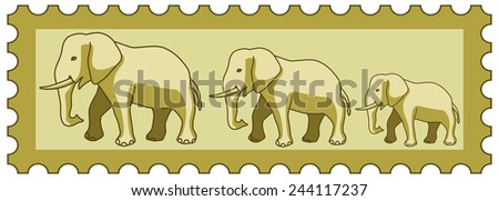 Illustration of the cartoon elephants group on postage stamp  - stock vector