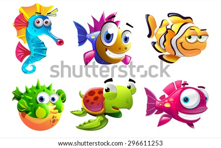 Illustration of the cartoon sea creatures on a white background - stock vector